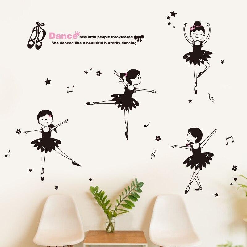 Girl dancing ballet music wall art stickers children's