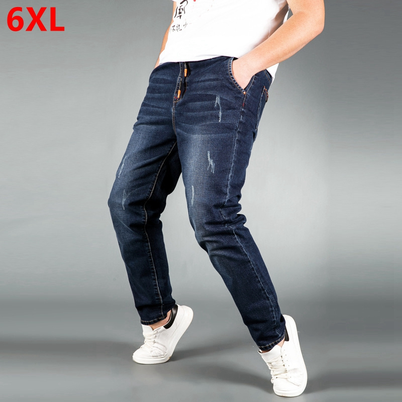 Large Size Jeans Male Loose Trousers Casual Big Man Pants Elastic Waist Young Plus Fat Loose Version Of Large Trousers