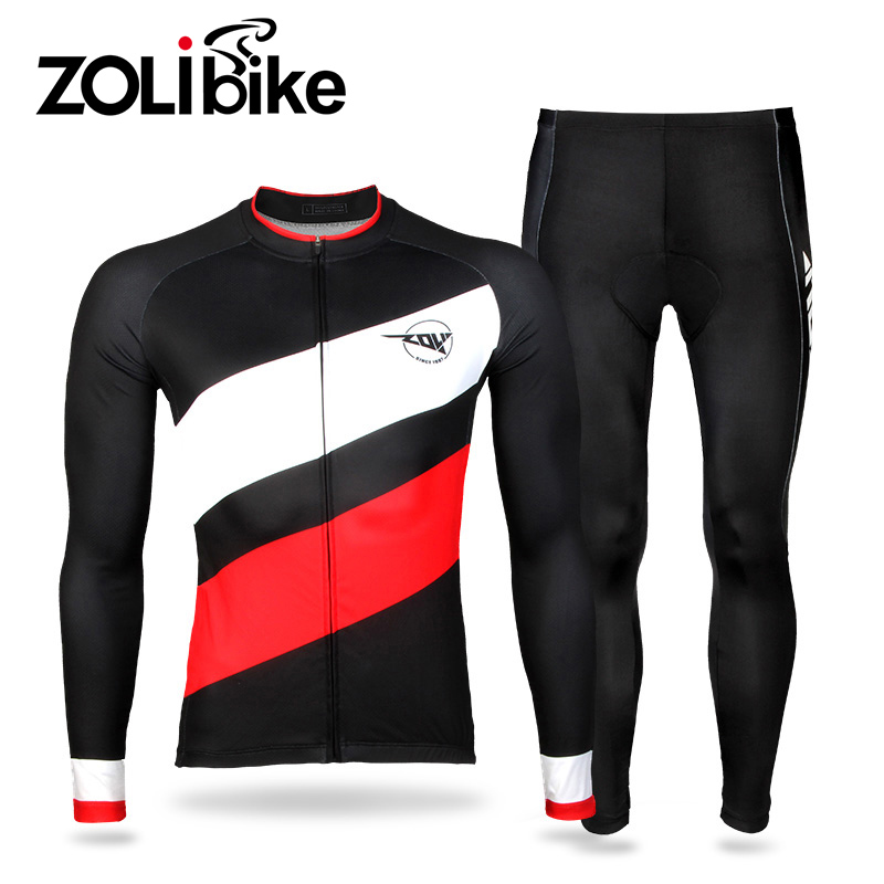 ФОТО Men Bike Jersey Sets Cycling Set Outdoor Riding Anti-Pilling Polyester Breathable Bicycle Clothes Male Long Sleeve Cycling Pants