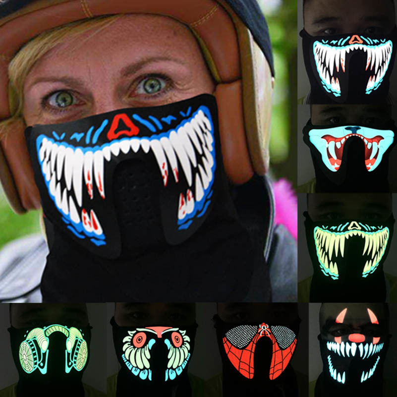 Halloween LED Luminous Flashing Face Mask Party Masks Light Up Dance Halloween Cosplay Mask