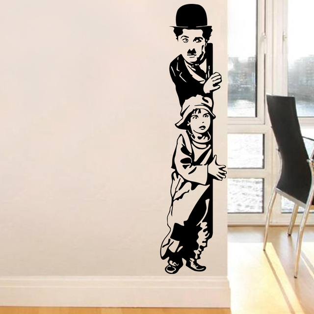 Art decor chaplin the kid wall stickers vinyl movie star wall decal house decoration for liveing