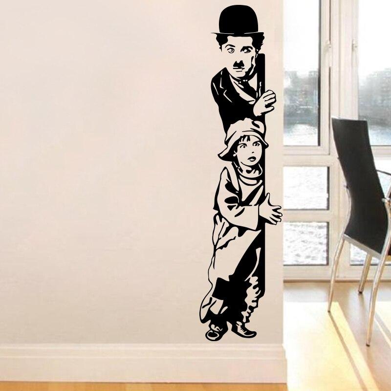 Arte decoração chaplin o miúdo adesivos de parede vinil filme estrela decalque da parede casa decoração para o quarto dos miúdos frete grátis