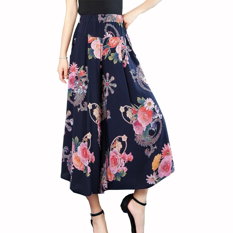 Wide Leg Pants Women Summer 2019 Casual Print Streetwear High Waist Pants Casual Floral Beach Trousers