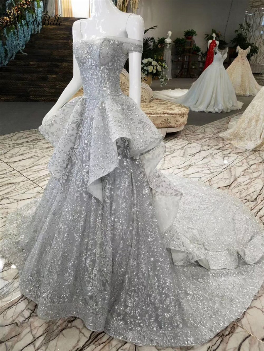 modabelle glitter lovertjes avondjurken zilver uit de schouder lange - Jurken voor bijzondere gelegenheden - Foto 4