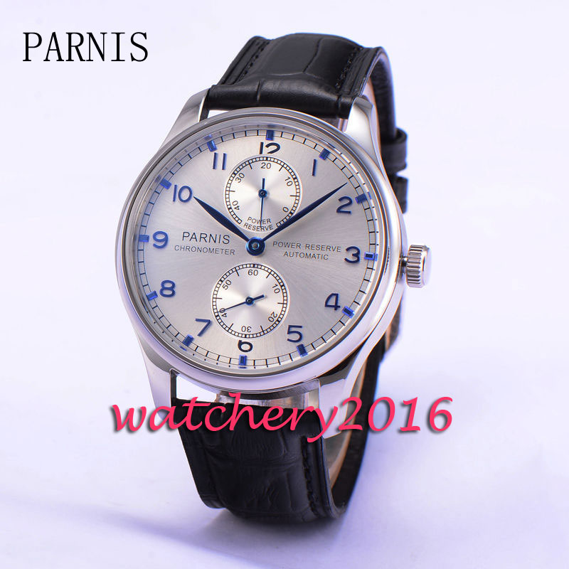 43mm Parnis silver white dial Blue marks automatic mechanical movement watch Power Reserve Automatic Movement Men's Wrist watch цена и фото