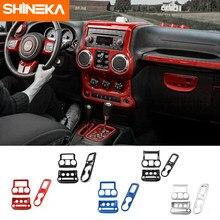 SHINEKA – autocollants de décoration pour Console centrale de tableau de bord de voiture, pour Jeep Wrangler JK 2011 +, ABS