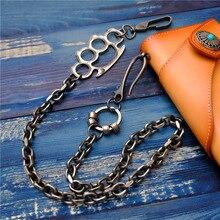 Jewelry Wallet Chains Trousers Jean Heavy-Waist Metal Men DR108 Gothic-Pants Rock Hip-Hop