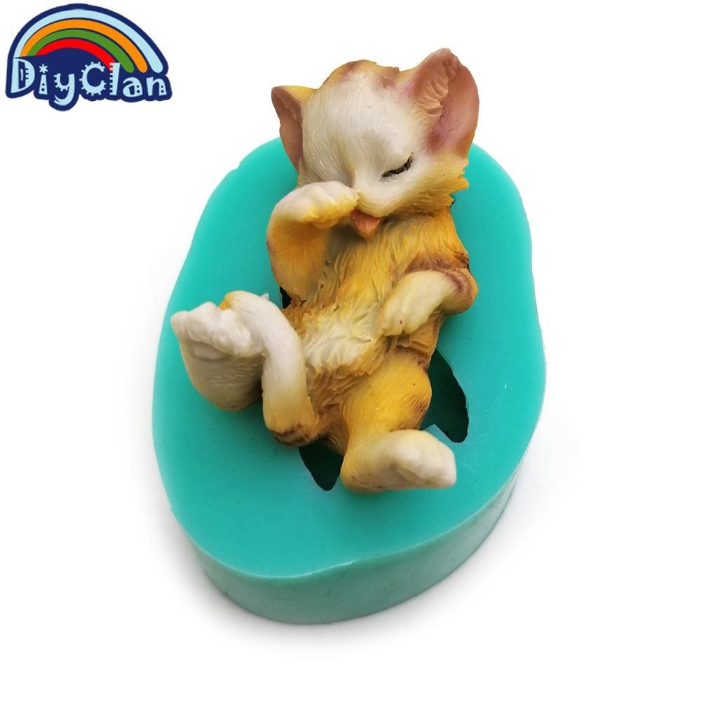 3D gatitos de silicona fondant moldes de pastel encantador gato - Cocina, comedor y bar - foto 4
