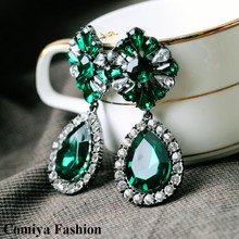 Comiya 2016 shourouk flower big green dangle crystal earrings for women  brincos brand jewelry bijoux sale lot gift
