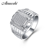 AINOUSHI Classic 925 Sterling Silver Men Wedding Engagement Rings Sona High Quality Male Rings Anniversary Silver Jewelry Gifts