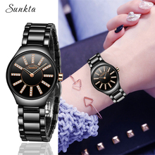 SUNKTA Fashion Crystal Ceramics Women Watches Ladies Top Brand Luxury Quartz watch Waterproof Casual Clock Zegarek Damski