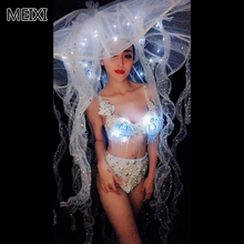 Super heavy weight LED sea jellyfish pearl bikini suit nightclub concert singer dancer costume