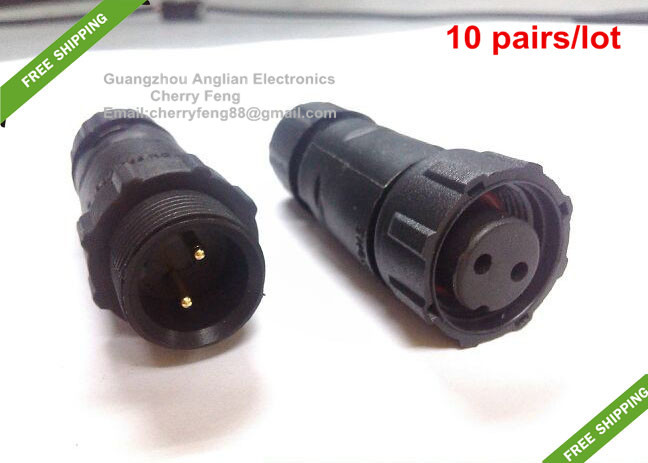 free shipping led lighting outdoor ip68 2 pin waterproof cable connector male and female butt type connector