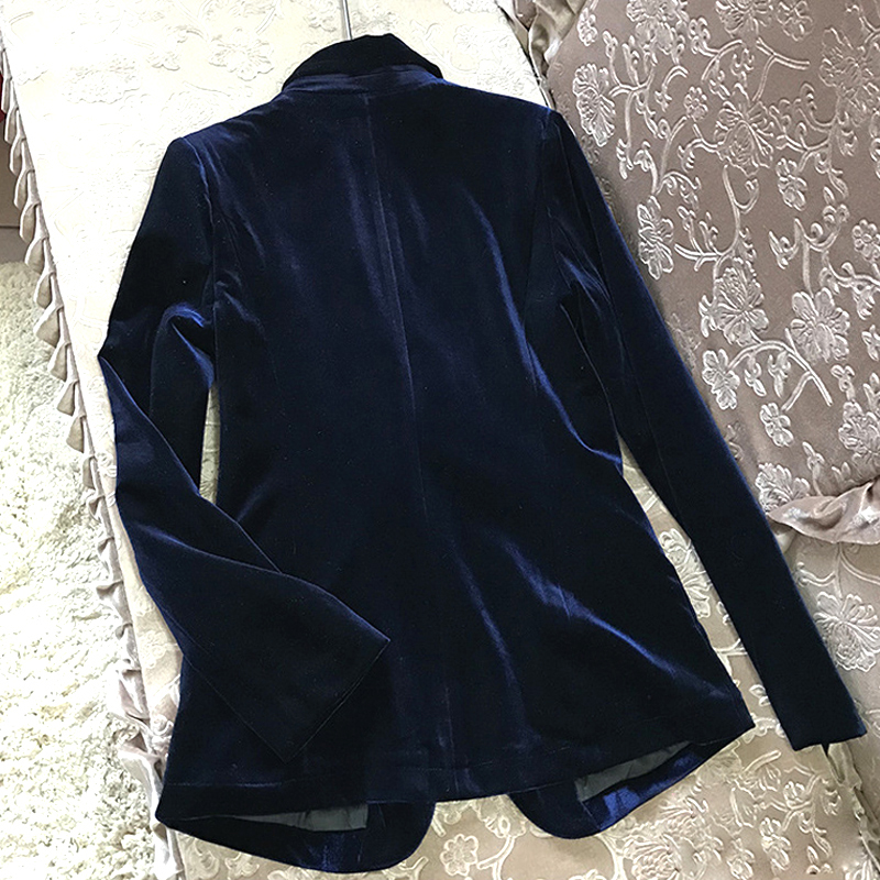 High Quality 2019 New Velvet Women Blazer Black Blue Elegant Lady Blazers Suits  Plus Size Long Sleeve Slim Office Suit Jacket