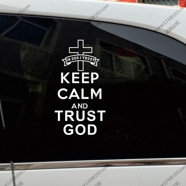 Keep calm and trust god jesus christ christian car truck decal bumper sticker windows vinyl die