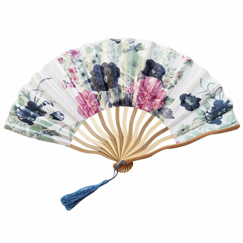 1 шт. китайский стиль, ручная работа, проведенных складной веер танец Свадебная вечеринка гетры с кружевами из шелка, складной Ручной Веер в виде цветка C522