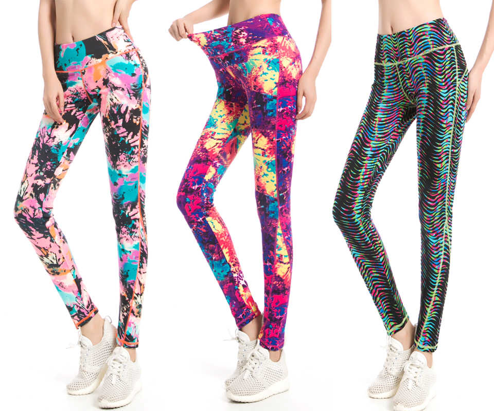 0936a563d7bdc Rylanguage Workout Legging Autumn Winter Female Bright Color Legging High  Waist Attractive Graffiti Abstract Printed Trouser