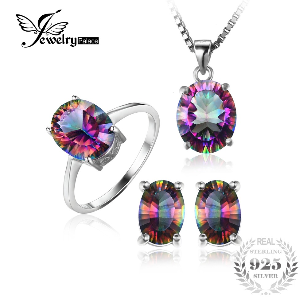 Brand New Hot Sale Genuine Rainbow Fire Mystic Topaz Oval Pendant Ring Earrings Stud For Women Solid 925 Sterling Silver Set hot sale rhinestoned solid color lion shaped ring for women