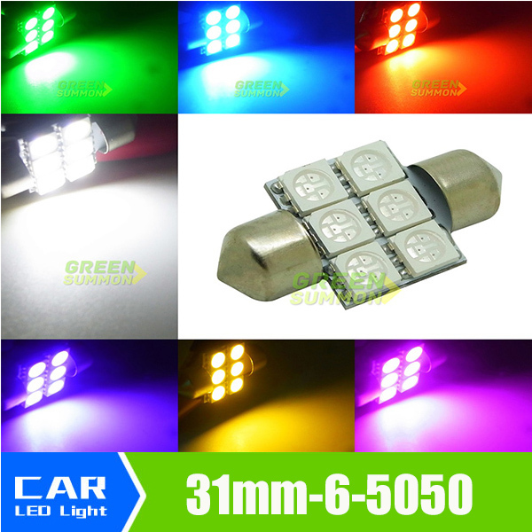 NEW 1.25 31mm 6-SMD 5050 DE3175 DE3022 LED Bulbs For Car Interior light White/Warm/Blue/Green/Purple/Yellow/PINK 2pcs brand new high quality superb error free 5050 smd 360 degrees led backup reverse light bulbs t15 for jeep grand cherokee