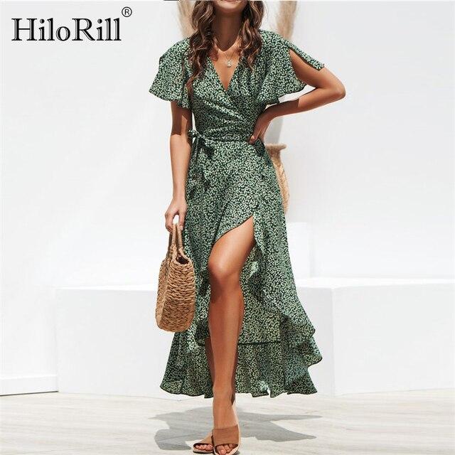 קיץ חוף מקסי שמלת נשים פרחוני הדפסת Boho ארוך שיפון שמלת קפלי גלישה מקרית V-צוואר פיצול סקסי המפלגה שמלת Robe femme