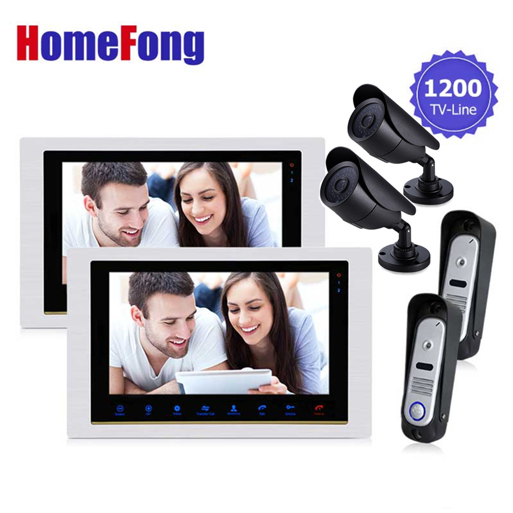 Homefong 10 Inch 2 Doorbell Camera 2 CCTV Camera and 2 Monitor Home Security Doorbell Door Phone Video  Intercom System homefong 4 inch tft wired video door phone intercom security camera doorbell home security camera monitor door video camera