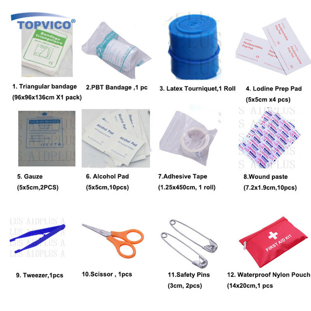 12 Kinds/pack Emergency Kits First Aid Kit Survival Camping Travel Medical Emergency Treatment Pack Set Nylon Pouch Bag #3