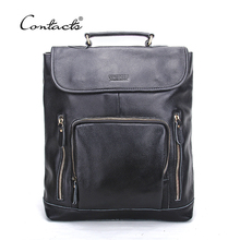 CONTACT'S European and American Style Genuine Leather Men Backpacks Fashion Brands Black Schoolbag Real Leather Backpack