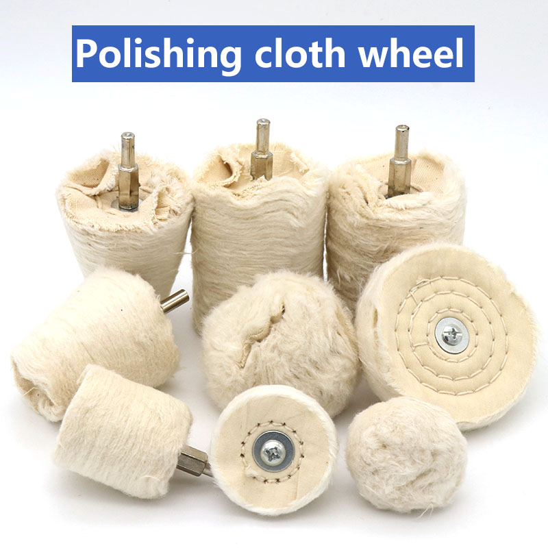 ZtDpLsd 1 Pcs 6mm Shank Cotton Polishing Wheels Cloth Buffing Wheel Grinder For Jewelry Wood Metal Abrasive Tools Cone Brush