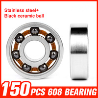 150pcs 608 Bearings Black Ceramic Ball 608 Stainless Steel Bearing For High Speed Fidget Spinner Skating