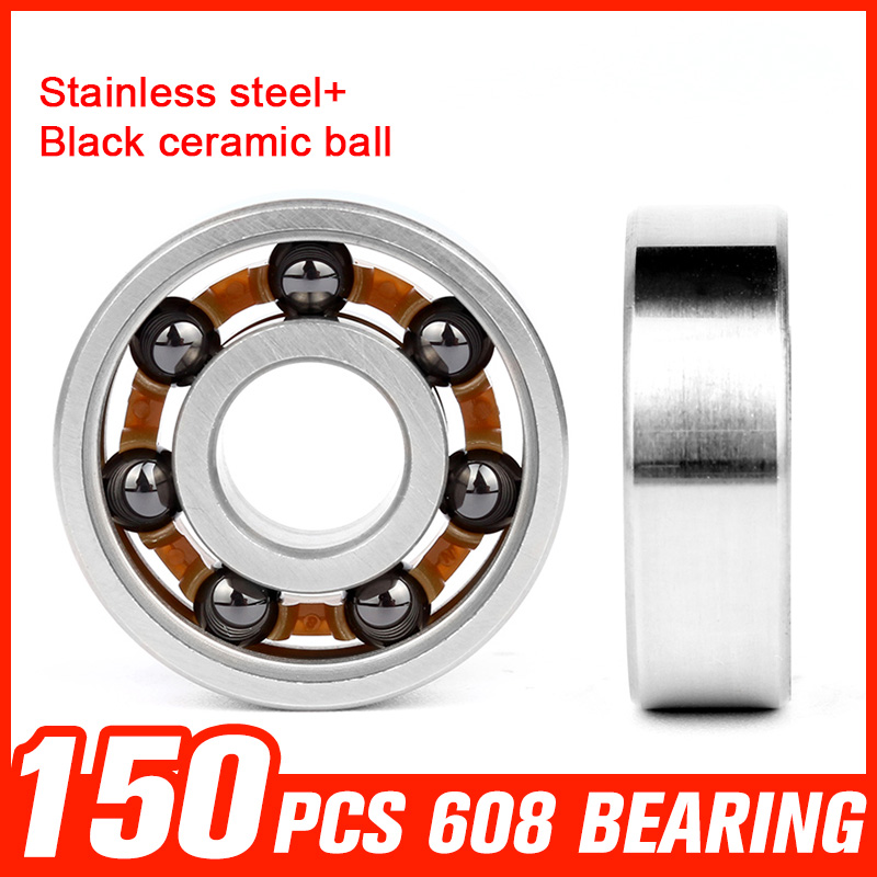 150pcs 608 Bearings Black Ceramic Ball 608 Stainless Steel Bearing for High Speed Fidget Spinner Skating Roller Toy Accessories f1055zz diy steel ball bearings for model toy robot silver 2 pcs