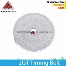10M 2GT Timing Belt 3D Printer GT2 6MM PU Steel Core Open Timing Belt 3D Printer Timing Belt Parts Wholesale