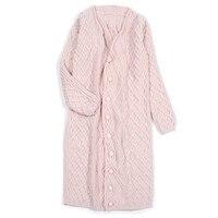 Высокого качества 100% кашемир женская мода hand made длинный свитер пальто Розовый S/155 xl/170 в розницу и оптом настроить