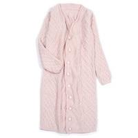 High Grade 100 Cashmere Women Fashion Hand Made Long Cardigan Sweater Overcoat Pink S 155 XL