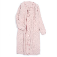 high grade 100% cashmere women fashion hand made long cardigan sweater overcoat pink S/155 XL/170 wholesale retail customize