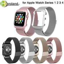 цены на luxury Milanese Loop Bracelet Stainless Steel band For Apple Watch series 1/2/3 42mm 38mm watch strap for i watch series +case  в интернет-магазинах