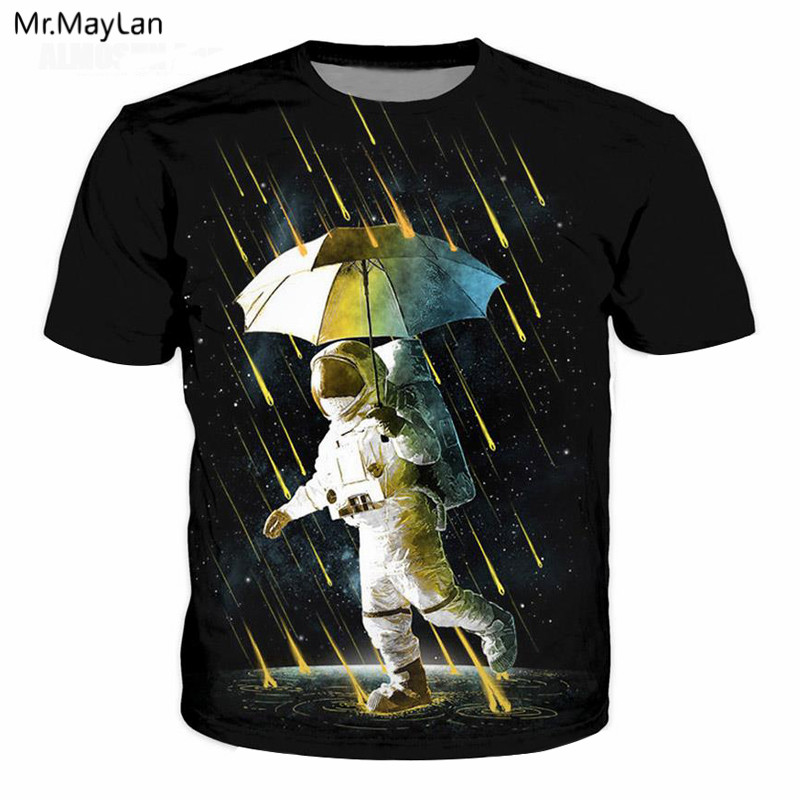 Astronauts Space Walking Meteor Shower Print 3D T Shirt Men Fashion Black T-Shirt Summer Harajuku Boys Casual Tshirt Clothing