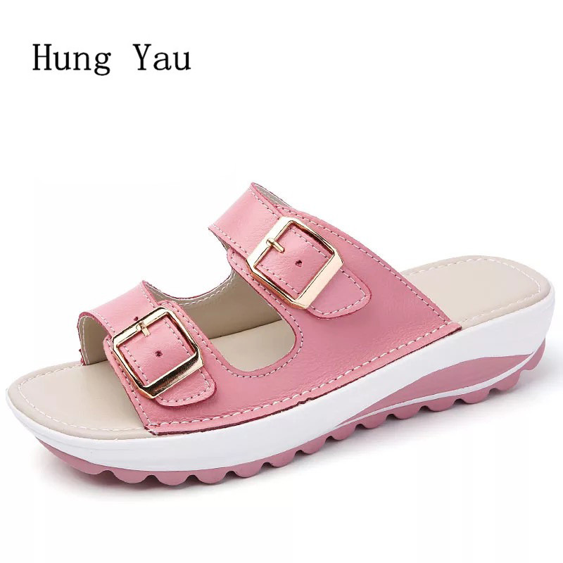 Women Sandals 2018 Summer Genuine Leather Shoes Woman Flip Flops Wedges Non-slip Fashion Platform Female Slides Ladies Shoes women sandals 2018 summer shoes woman flip flops wedges fashion platform female slides ladies shoes peep toe
