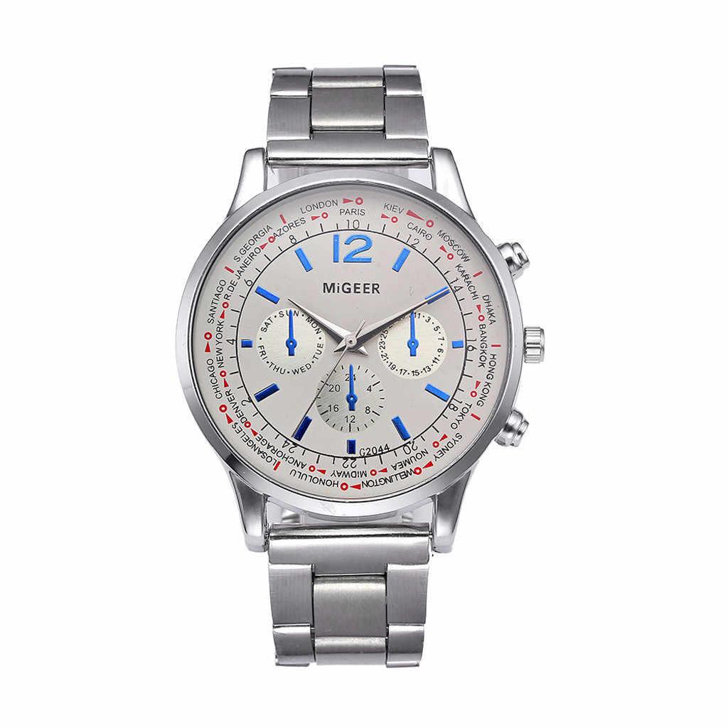 Relógio quartzo masculino luxuoso de aço inoxidável, cronógrafo militar do exército, relógio de pulso masculino 533