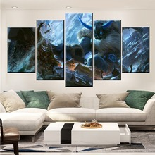 5 Panel LOL League of Legends Olaf Game Canvas Printed Painting For Living Room Wall Art Decor HD Picture Artworks Poster