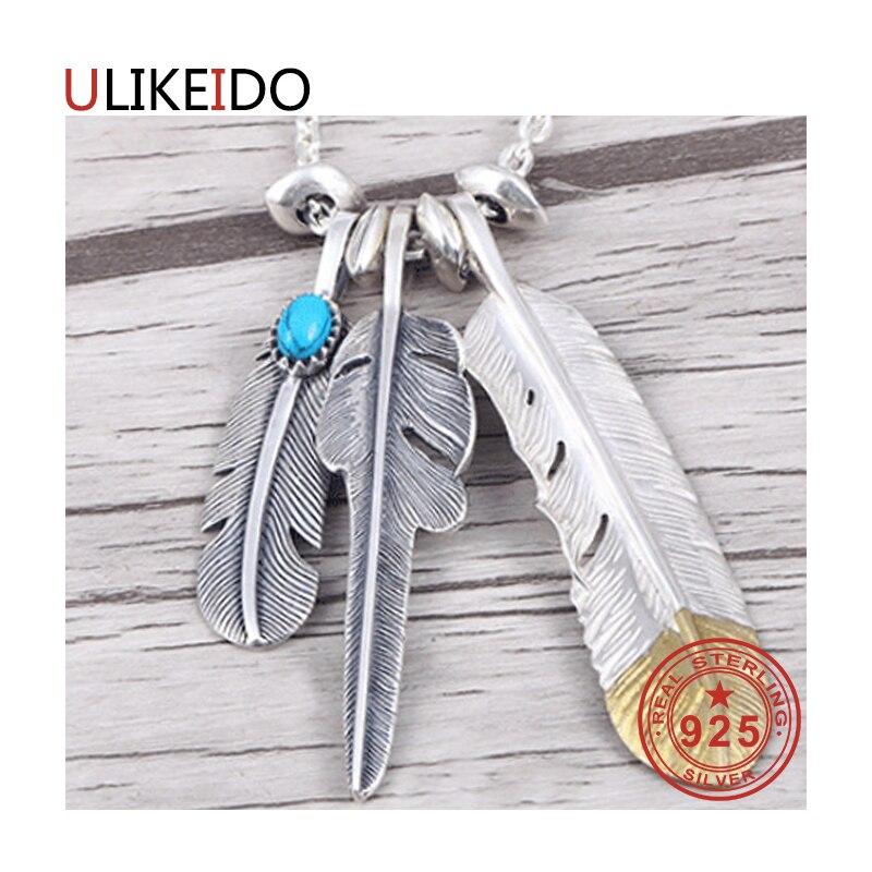 925 bijoux en argent Sterling pendentif colliers plume charme Punk lien Thai argent aigle chaîne pour hommes et femmes cadeau fin 2004