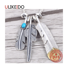 925 Sterling Silver Jewelry Pendant Necklaces Feather Charm Punk Link Thai Silver Eagle Chain For Men And Women Fine Gift 2004 pure 925 sterling silver jewelry eagle charms pendants for men and women thai silver birds necklace chain fine gift 659
