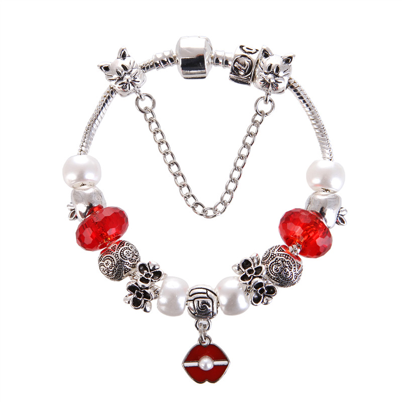 High Quality Red crystal pearl Pendant Noble Pretty Charm Bracelet Pandora Bracelet For Women/Gril gift jewelry Drop Shipping