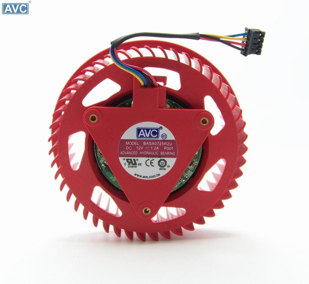 AVC BASA0725R2U 12V 1.20A For ATI HD5870 HD5970 graphics card fan turbine 1pcs graphics video card vga cooler fan for ati hd5970 hd4870 hd4890 hd5850 hd5870 hd4890 hd6990 hd6970 hd7850 hd7990 r9295x