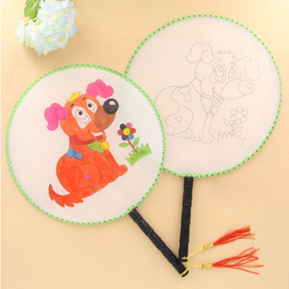 24cm Summer Elegant Round Hand Paddle Fan Puppy Pattern White Cloth Painting