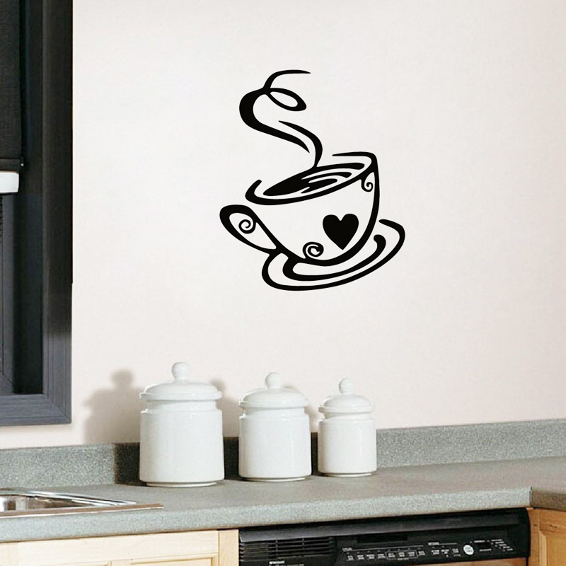 Kitchen  Home Decor Letter Decals Wall Art Coffee Cup With Heart  Wall Stickers