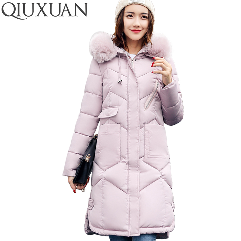QIUXUAN Size M-XXXL Long Parkas 2017 Winter Warm Cotton Padded Jacket Women Coat Faux Fur Collar Hooded Slim Female Overcoat wmwmnu women winter long parkas hooded slim jacket fashion women warm fur collar coat cotton padded female overcoat plus size