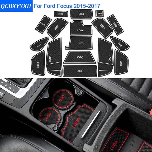 17Pcs/Set Car Styling Slot Pad Interior Door Groove Mat Latex Anti Slip  Cushion For Ford Focus 2015 2017 Car Internal Dedicated