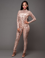 Spring Women Sequin Jumpsuit Sexy O Neck Mesh Patchwork Bodysuit Glitter Long Sleeve Romper Women Party Club Catsuit N272