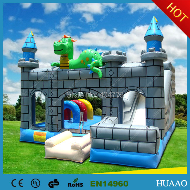 Dragon jumper castle commercial inflatable bouncer combo inflatable bouncer with slide with free shipping dhl free shipping inflatable bouncer cute sharks jumper with long slide with blower for kids