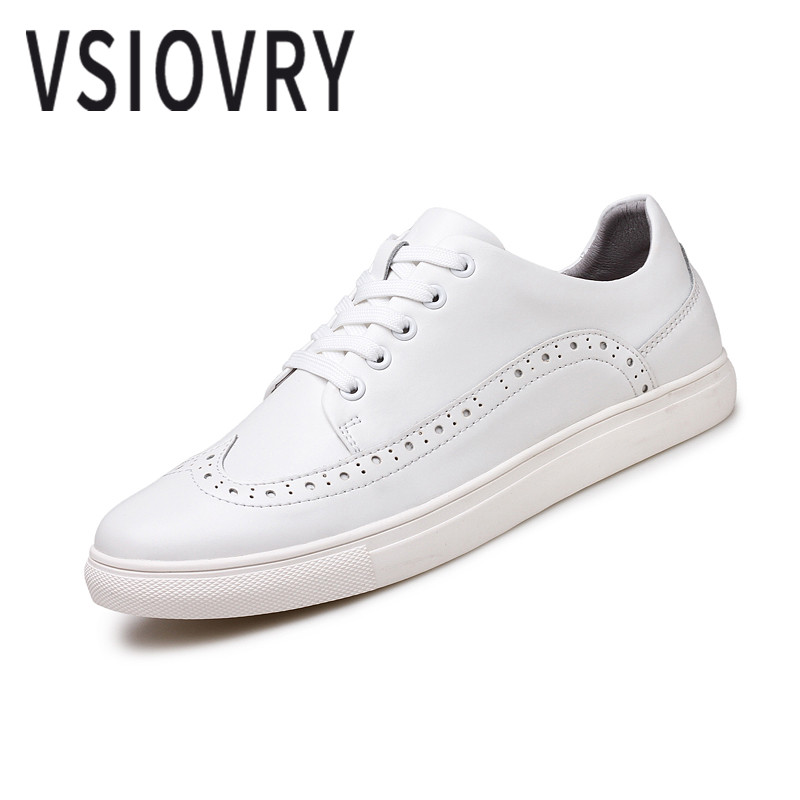 VSIOVRY New Big Size 38 48 Shoes Men Leather Sneakers Spring Classic Leather Casual Shoes High